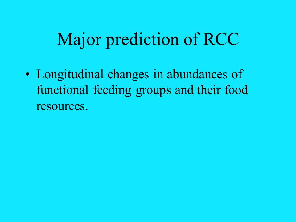 Major prediction of RCC Longitudinal changes in abundances of functional feeding groups and their food resources.