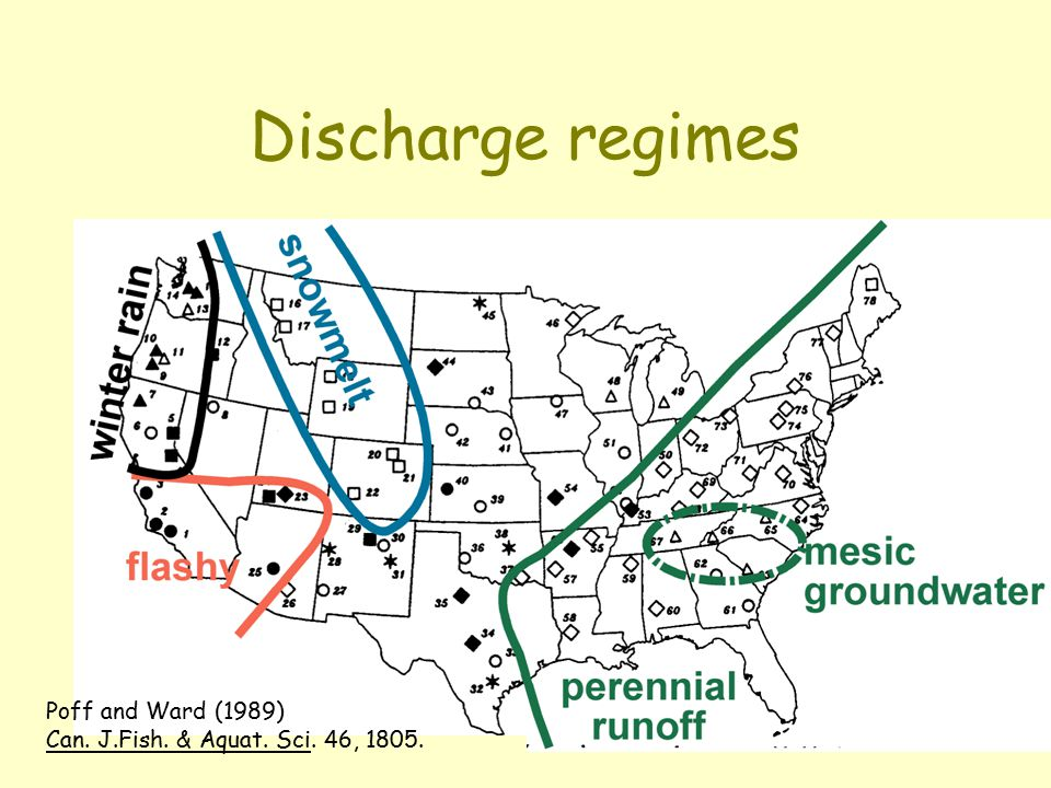 Discharge regimes Poff and Ward (1989) Can. J.Fish. & Aquat. Sci. 46, 1805.