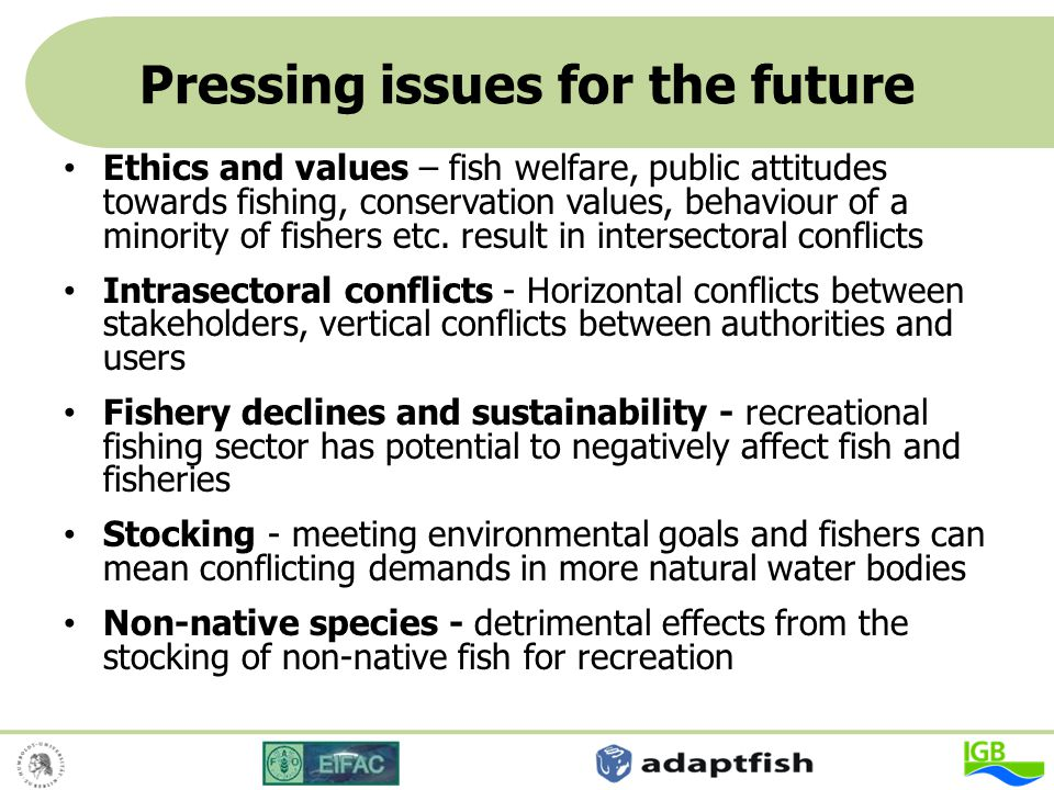Pressing issues for the future Ethics and values – fish welfare, public attitudes towards fishing, conservation values, behaviour of a minority of fis