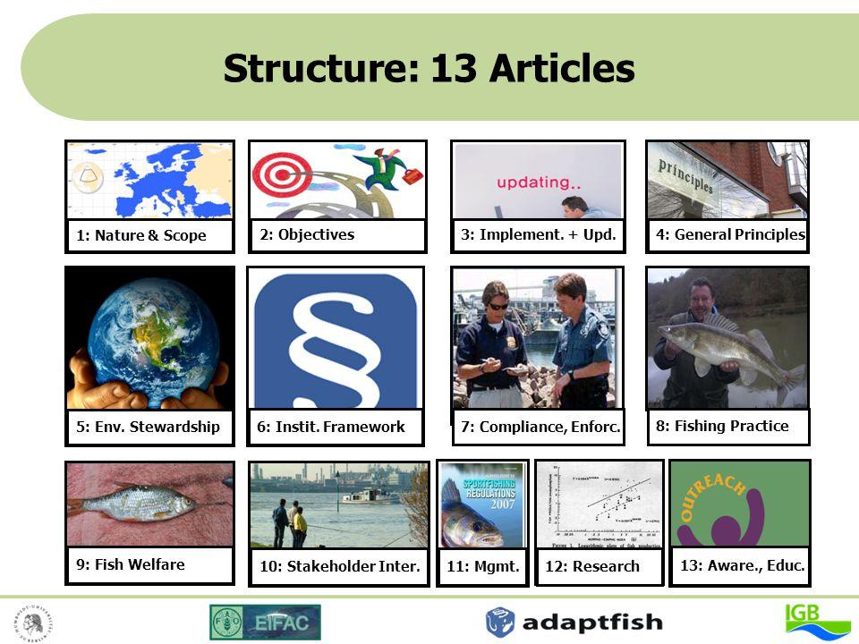 Structure: 13 Articles 4: General Principles 5: Env. Stewardship 6: Instit. Framework 9: Fish Welfare 10: Stakeholder Inter. 7: Compliance, Enforc. 8: