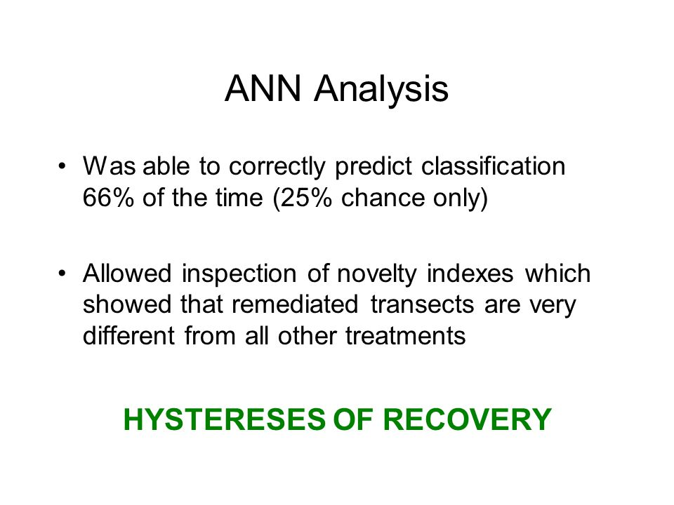 ANN Analysis Was able to correctly predict classification 66% of the time (25% chance only) Allowed inspection of novelty indexes which showed that remediated transects are very different from all other treatments HYSTERESES OF RECOVERY