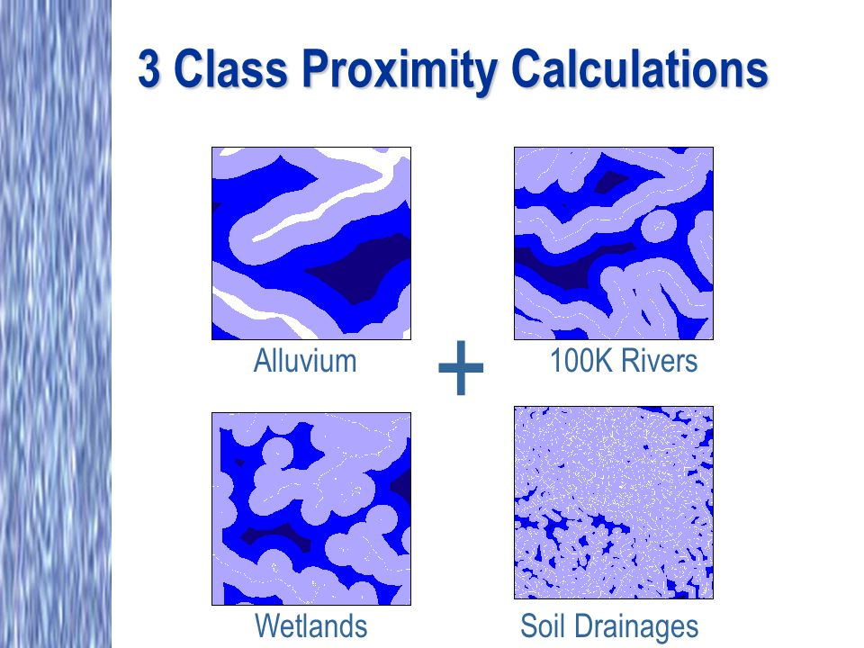 3 Class Proximity Calculations Alluvium Wetlands 100K Rivers Soil Drainages +