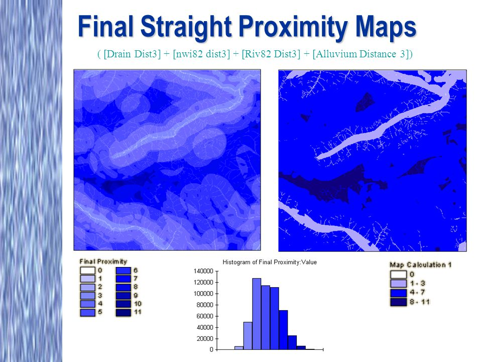 Final Straight Proximity Maps ( [Drain Dist3] + [nwi82 dist3] + [Riv82 Dist3] + [Alluvium Distance 3])