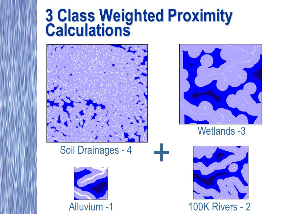 3 Class Weighted Proximity Calculations Alluvium -1 Wetlands -3 100K Rivers - 2 Soil Drainages - 4 +