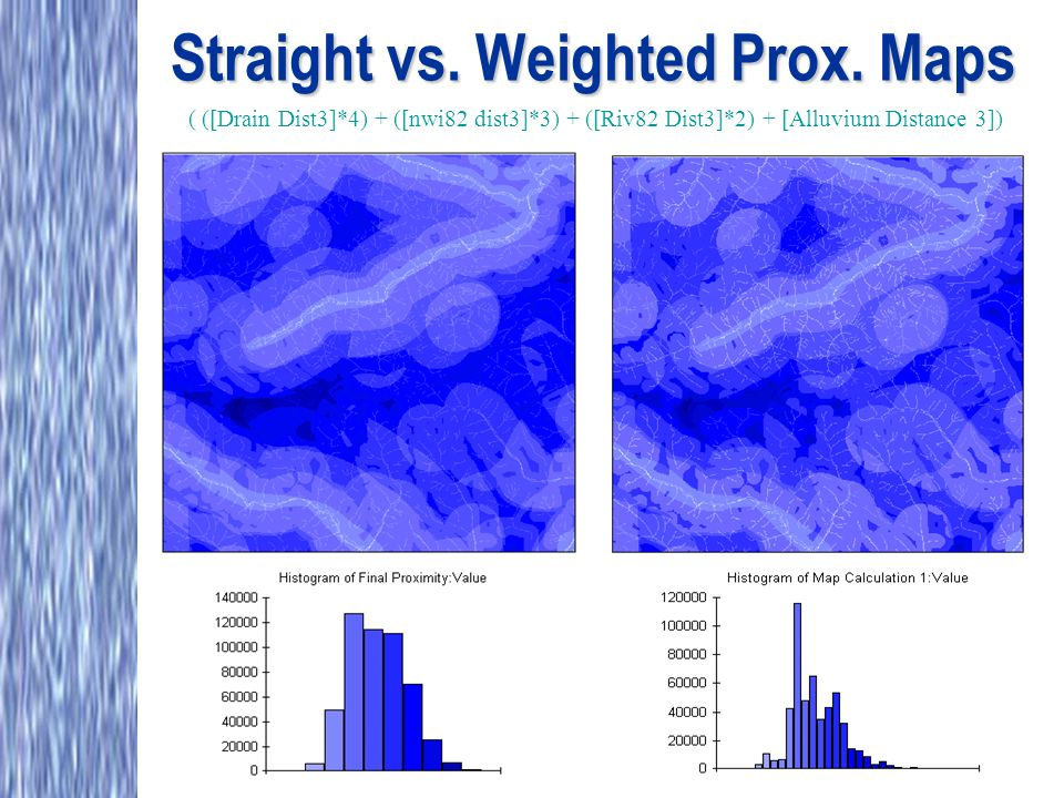 Straight vs. Weighted Prox. Maps ( ([Drain Dist3]*4) + ([nwi82 dist3]*3) + ([Riv82 Dist3]*2) + [Alluvium Distance 3])