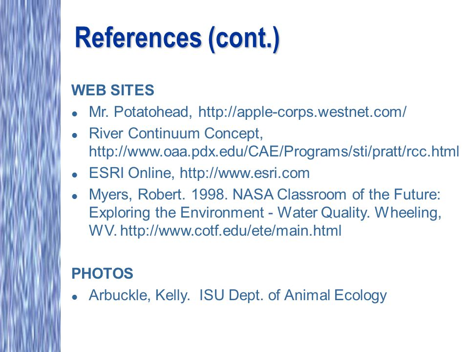 References (cont.) WEB SITES l Mr. Potatohead, http://apple-corps.westnet.com/ l River Continuum Concept, http://www.oaa.pdx.edu/CAE/Programs/sti/prat