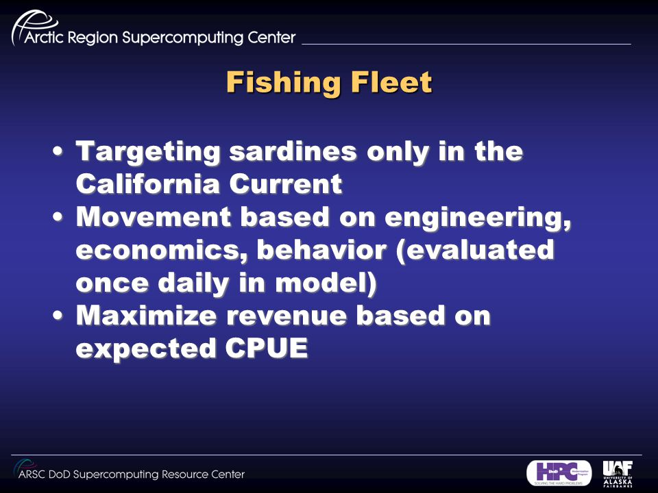 Fishing Fleet Targeting sardines only in the California CurrentTargeting sardines only in the California Current Movement based on engineering, economics, behavior (evaluated once daily in model)Movement based on engineering, economics, behavior (evaluated once daily in model) Maximize revenue based on expected CPUEMaximize revenue based on expected CPUE