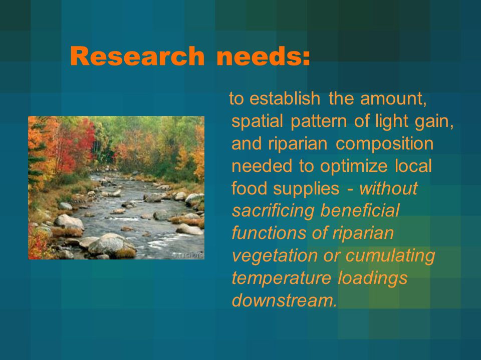 to establish the amount, spatial pattern of light gain, and riparian composition needed to optimize local food supplies - without sacrificing beneficial functions of riparian vegetation or cumulating temperature loadings downstream.