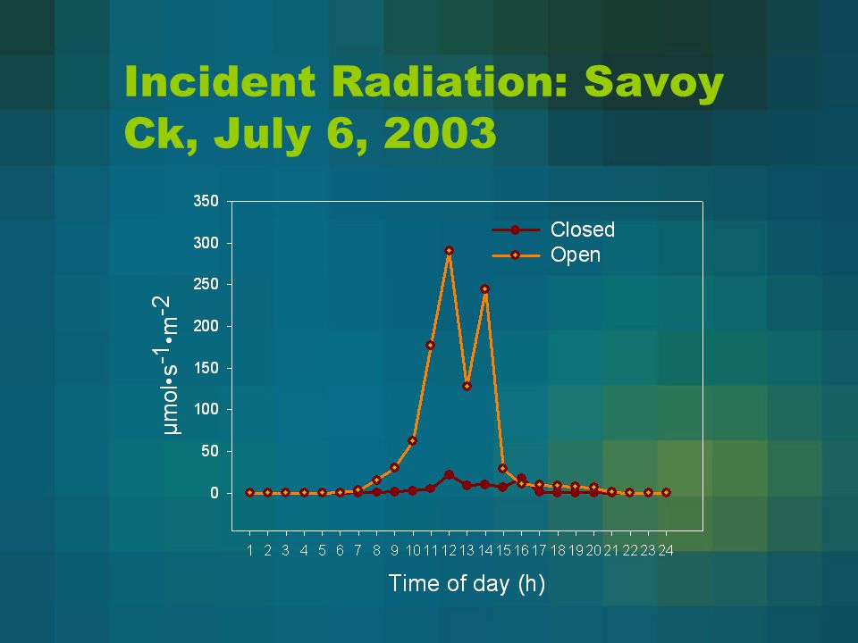 Incident Radiation: Savoy Ck, July 6, 2003