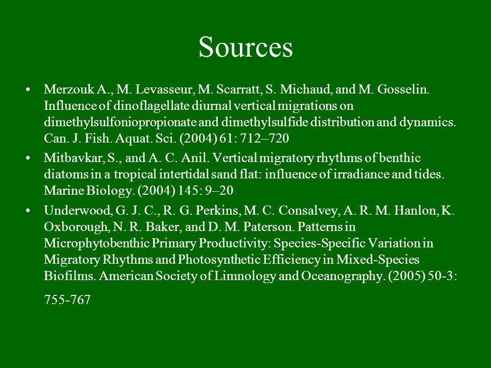 Sources Merzouk A., M. Levasseur, M. Scarratt, S.