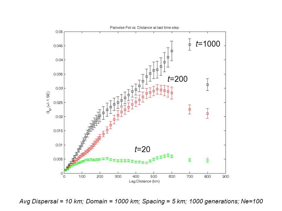 Avg Dispersal = 10 km; Domain = 1000 km; Spacing = 5 km; 1000 generations; Ne=100 t=20 t=200 t=1000