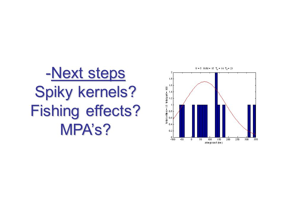 -Next steps Spiky kernels Fishing effects MPA's