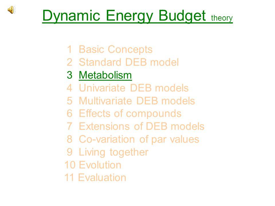 Dynamic Energy Budget theory 1 Basic Concepts 2 Standard DEB model 3 MetabolismMetabolism 4 Univariate DEB models 5 Multivariate DEB models 6 Effects of compounds 7 Extensions of DEB models 8 Co-variation of par values 9 Living together 10 Evolution 11 Evaluation