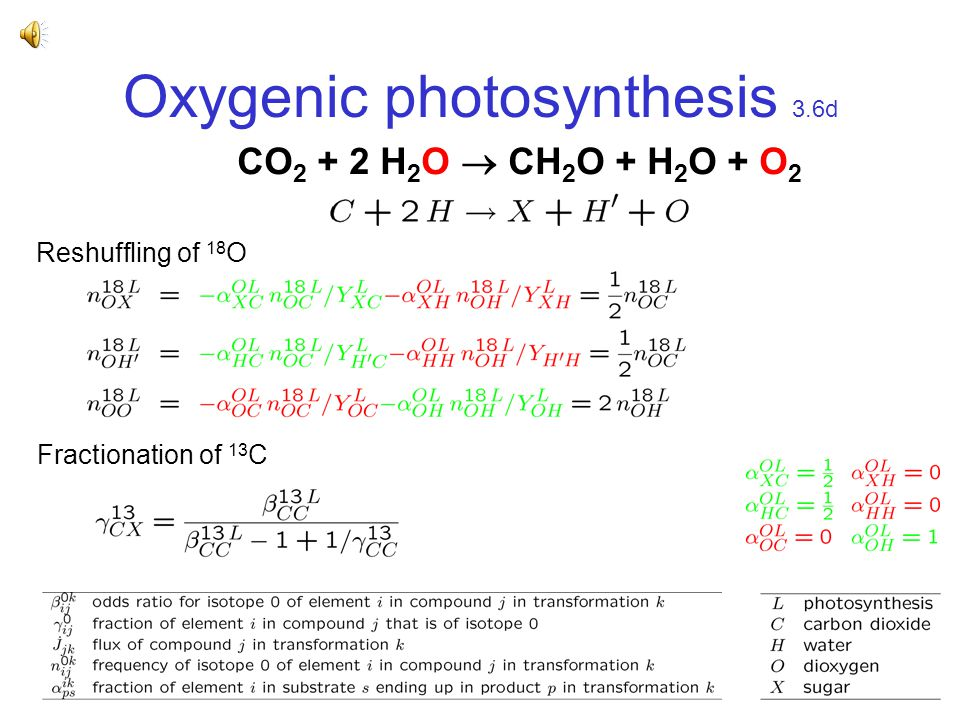 Oxygenic photosynthesis 3.6d CO 2 + 2 H 2 O  CH 2 O + H 2 O + O 2 Reshuffling of 18 O Fractionation of 13 C