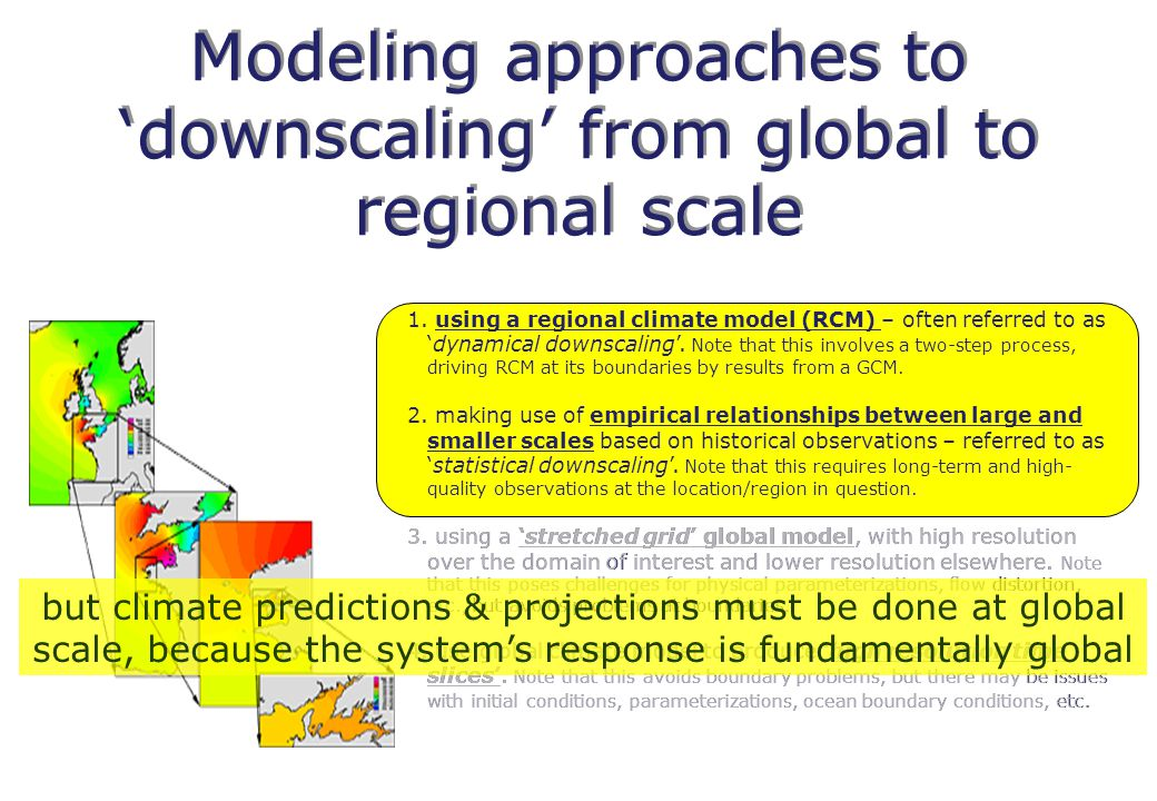 Modeling approaches to 'downscaling' from global to regional scale 1.