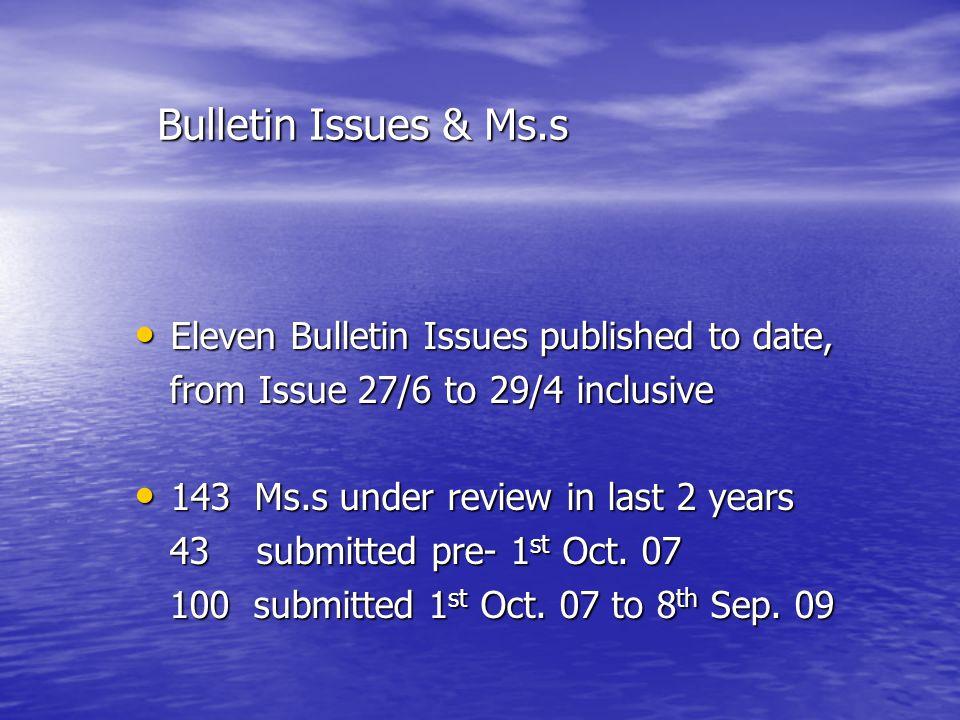 Bulletin Issues & Ms.s Bulletin Issues & Ms.s Eleven Bulletin Issues published to date, Eleven Bulletin Issues published to date, from Issue 27/6 to 29/4 inclusive from Issue 27/6 to 29/4 inclusive 143 Ms.s under review in last 2 years 143 Ms.s under review in last 2 years 43 submitted pre- 1 st Oct.