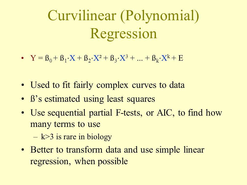 Curvilinear (Polynomial) Regression Y = ß 0 + ß 1 ⋅ X + ß 2 ⋅ X² + ß 3 ⋅ X 3 +...
