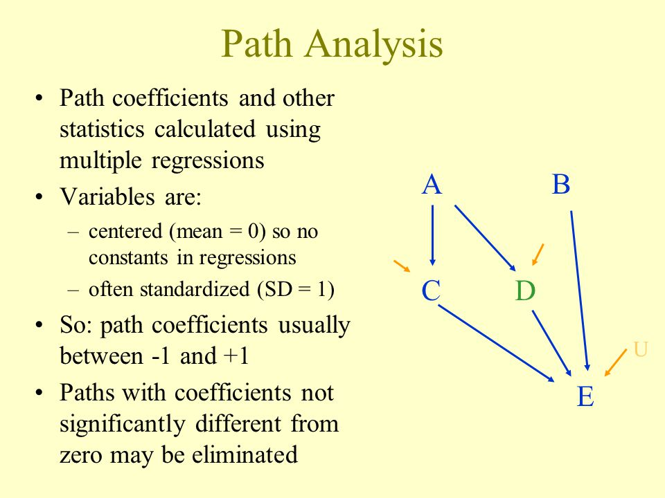 Path Analysis Path coefficients and other statistics calculated using multiple regressions Variables are: –centered (mean = 0) so no constants in regressions –often standardized (SD = 1) So: path coefficients usually between -1 and +1 Paths with coefficients not significantly different from zero may be eliminated A B C D E U
