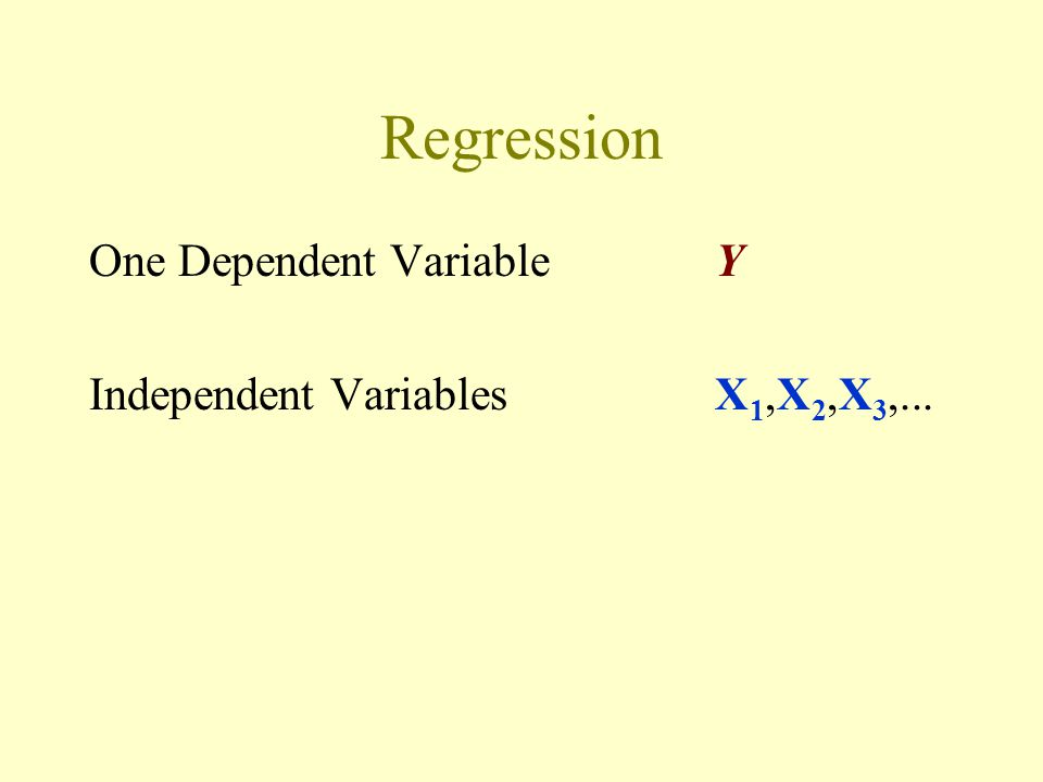 Regression One Dependent VariableY Independent VariablesX 1,X 2,X 3,...