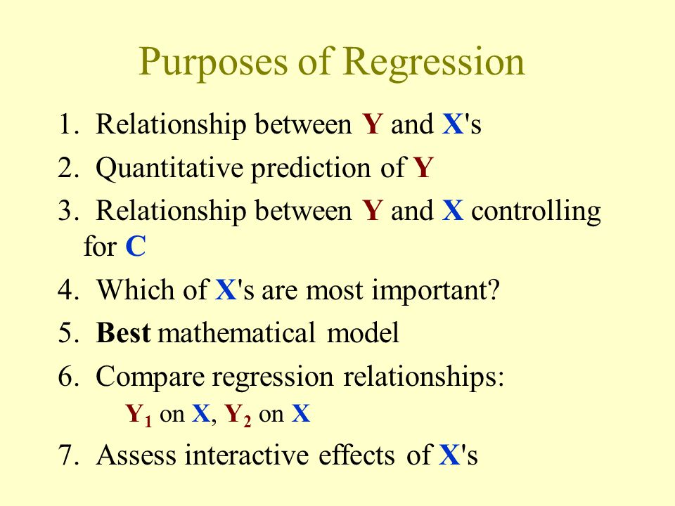 Purposes of Regression 1. Relationship between Y and X s 2.