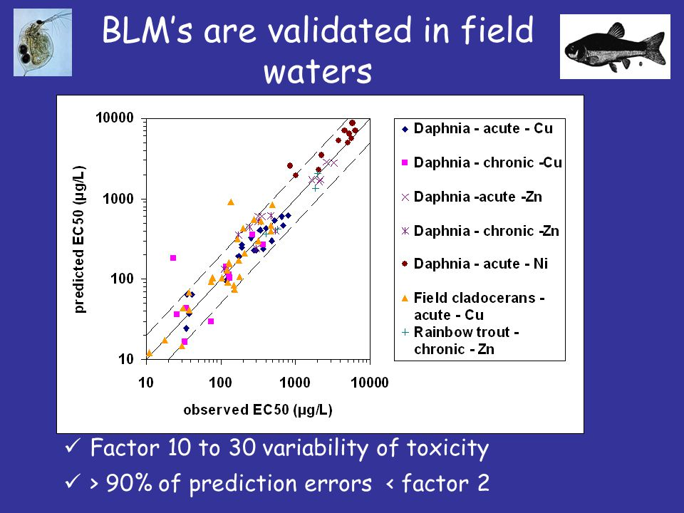 BLM's are validated in field waters Factor 10 to 30 variability of toxicity > 90% of prediction errors < factor 2