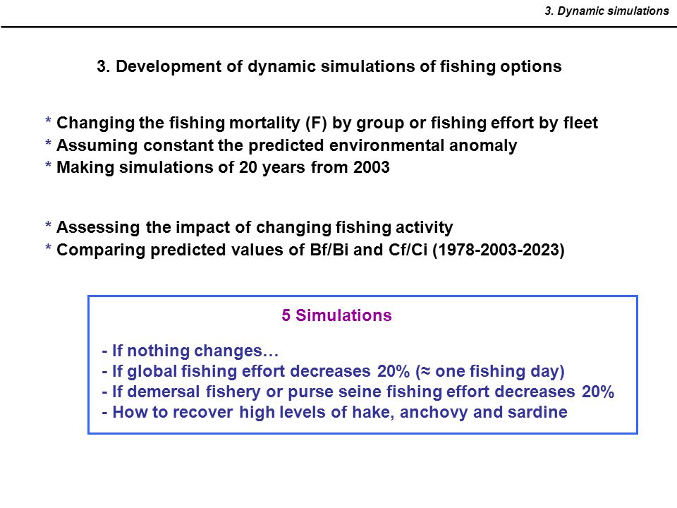 3. Development of dynamic simulations of fishing options * Changing the fishing mortality (F) by group or fishing effort by fleet * Assuming constant