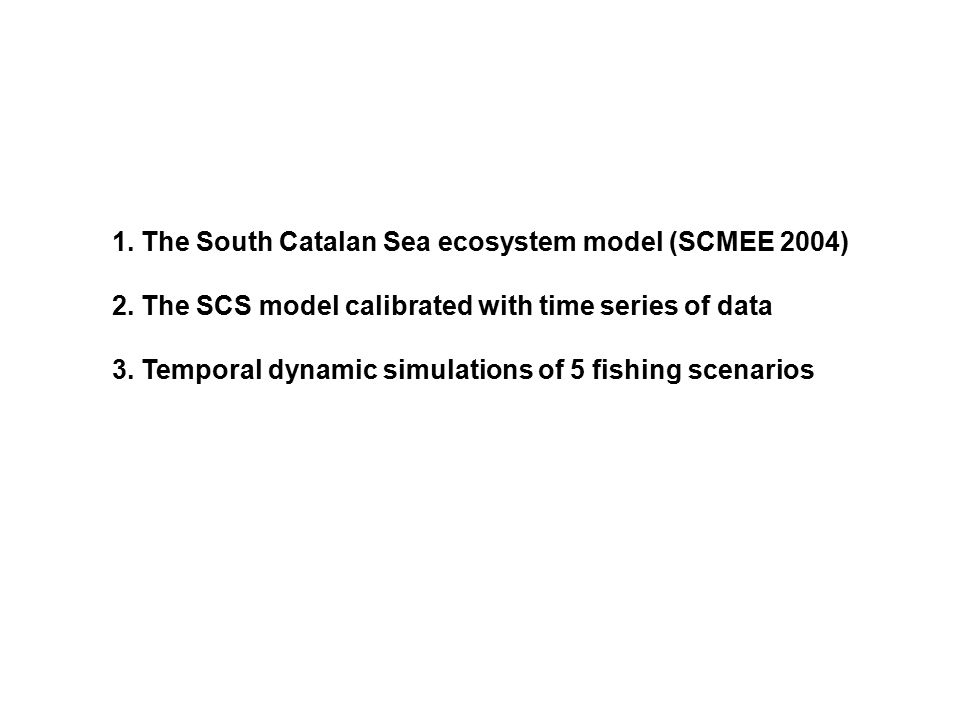 1. The South Catalan Sea ecosystem model (SCMEE 2004) 2. The SCS model calibrated with time series of data 3. Temporal dynamic simulations of 5 fishin