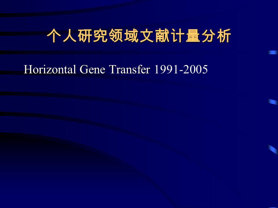 个人研究领域文献计量分析 Horizontal Gene Transfer Horizontal Gene Transfer 1991-2005