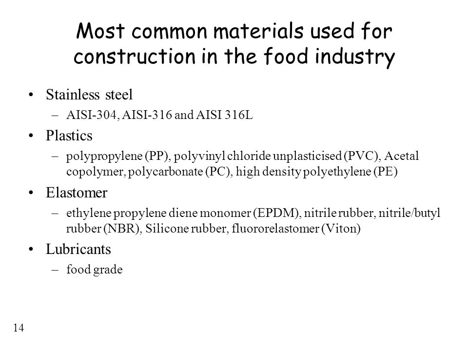 14 Most common materials used for construction in the food industry Stainless steel –AISI-304, AISI-316 and AISI 316L Plastics –polypropylene (PP), po