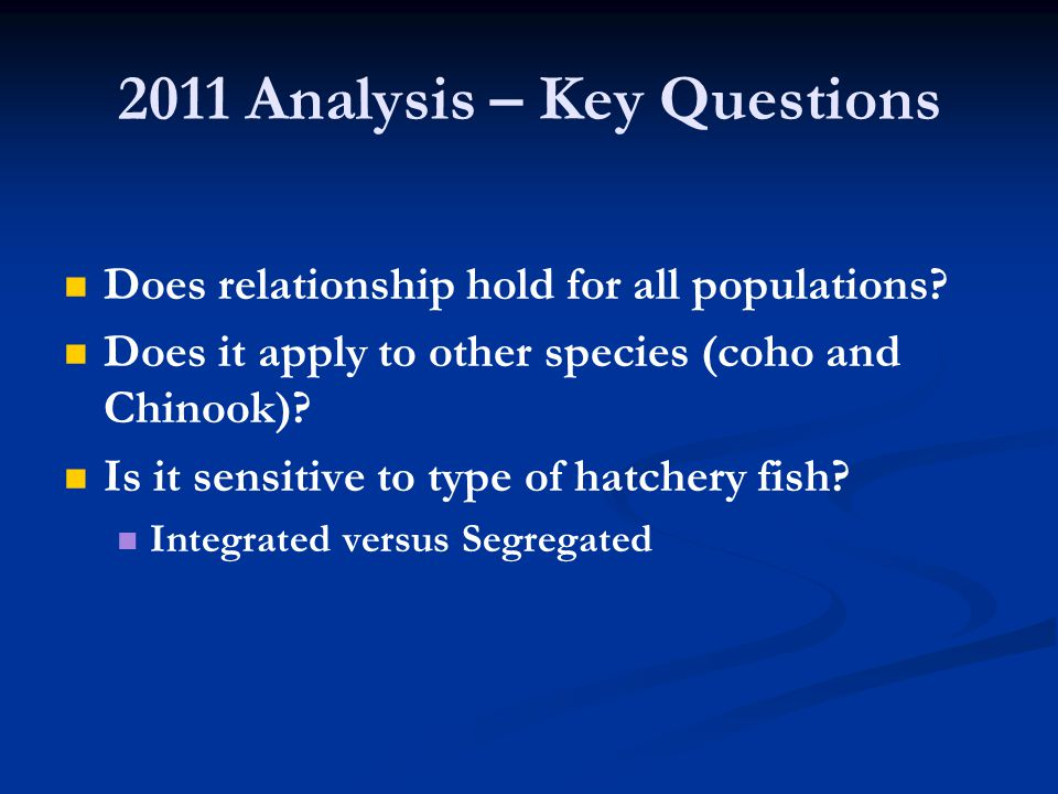2011 Analysis – Key Questions Does relationship hold for all populations.
