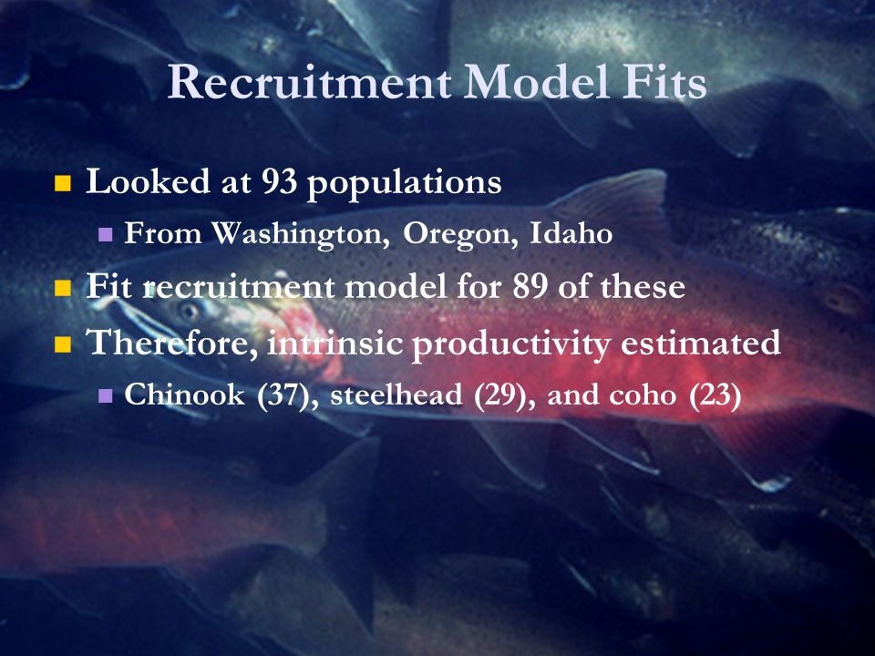Recruitment Model Fits Looked at 93 populations From Washington, Oregon, Idaho Fit recruitment model for 89 of these Therefore, intrinsic productivity estimated Chinook (37), steelhead (29), and coho (23)