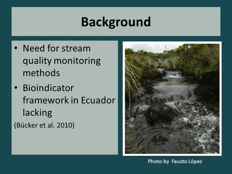 Background Need for stream quality monitoring methods Bioindicator framework in Ecuador lacking (Bücker et al. 2010) Photo by Fausto López