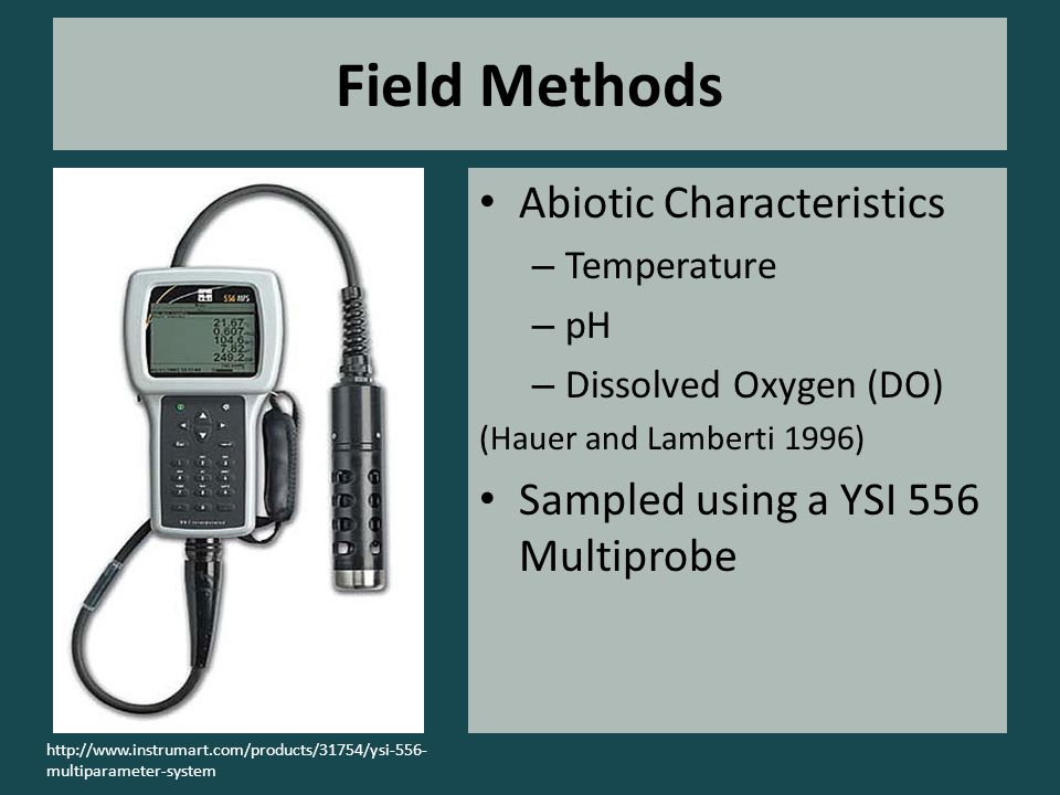 Field Methods Abiotic Characteristics – Temperature – pH – Dissolved Oxygen (DO) (Hauer and Lamberti 1996) Sampled using a YSI 556 Multiprobe http://www.instrumart.com/products/31754/ysi-556- multiparameter-system