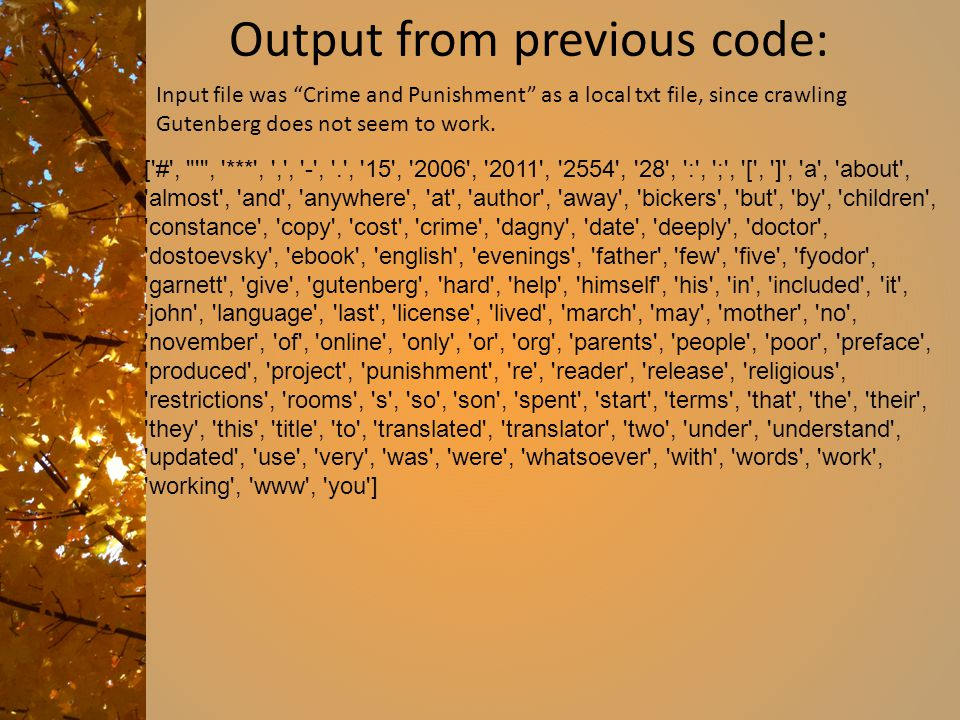Output from previous code: ['#',