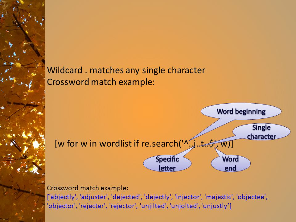 Wildcard. matches any single character Crossword match example: [w for w in wordlist if re.search('^..j..t..$', w)] Crossword match example: ['abjectl