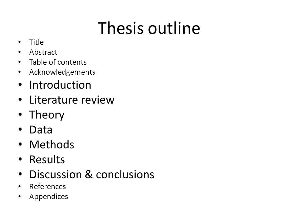 Thesis Workshop Outline 1.