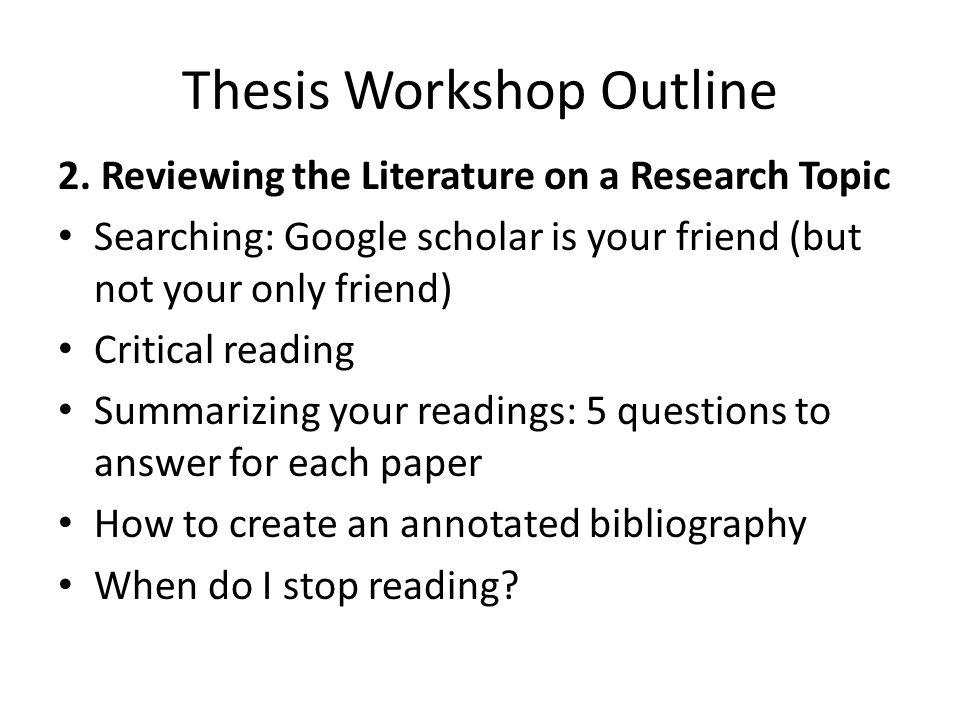 Thesis Workshop Outline 3.