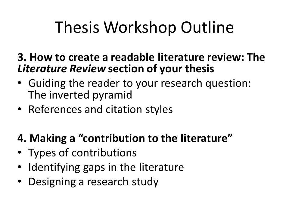 Thesis Workshop Outline 5.