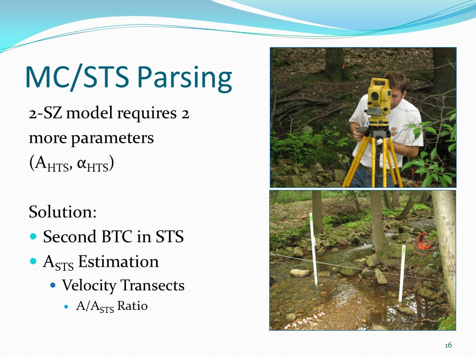 MC/STS Parsing 2-SZ model requires 2 more parameters (A HTS, α HTS ) Solution: Second BTC in STS A STS Estimation Velocity Transects A/A STS Ratio 16