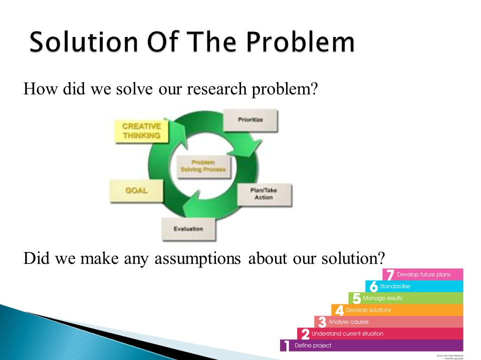 How did we solve our research problem? Did we make any assumptions about our solution?