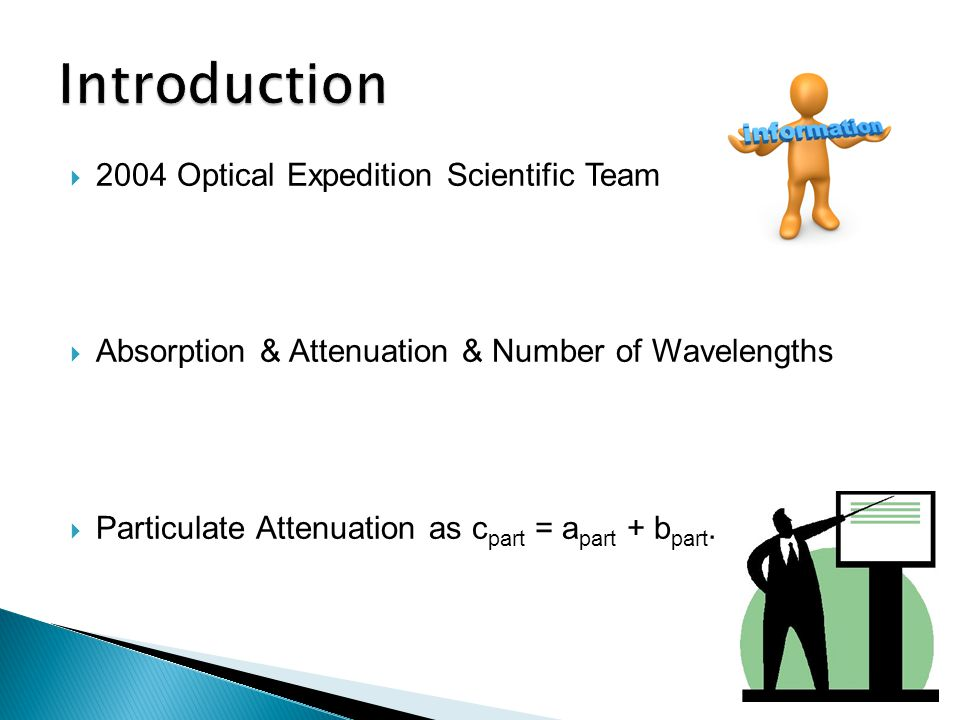  2004 Optical Expedition Scientific Team  Absorption & Attenuation & Number of Wavelengths  Particulate Attenuation as c part = a part + b part.
