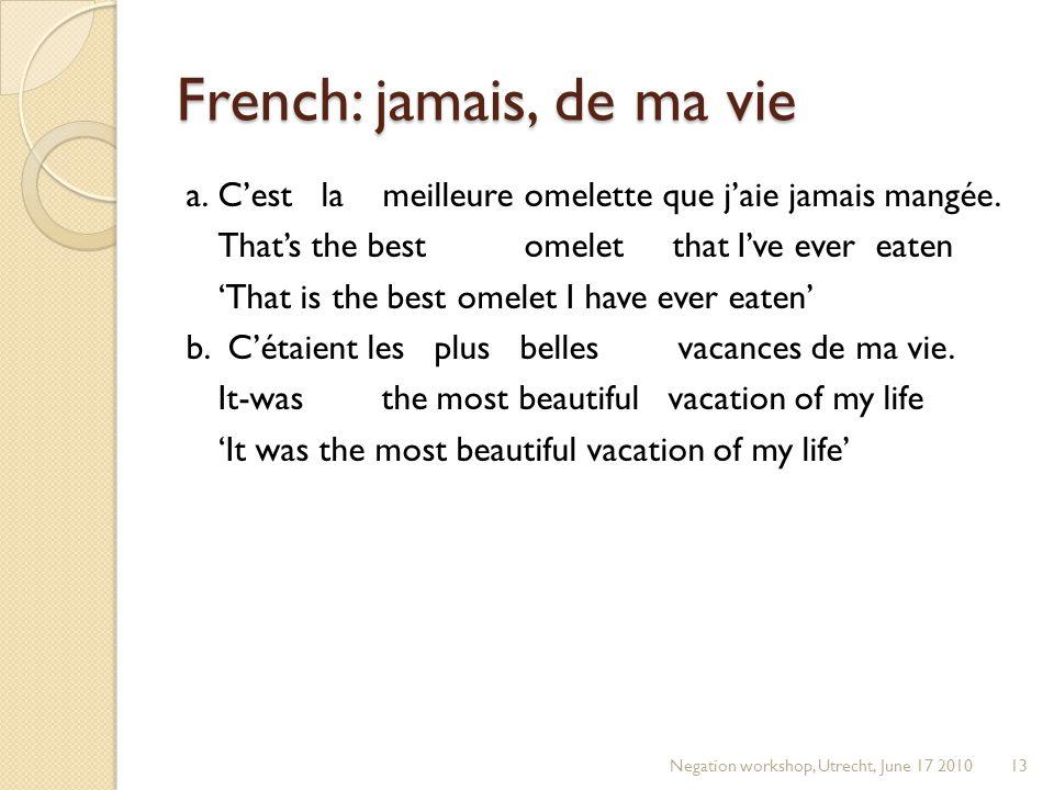 French: jamais, de ma vie a.C'est la meilleure omelette que j'aie jamais mangée.