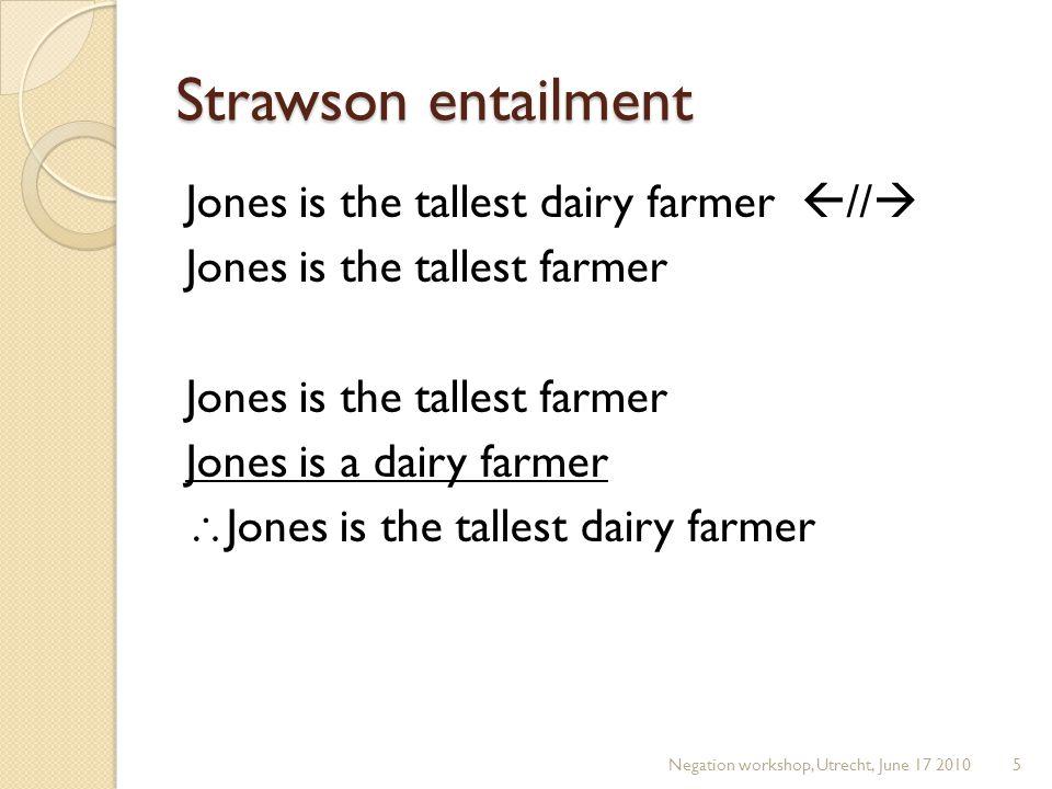 Strawson entailment Jones is the tallest dairy farmer  //  Jones is the tallest farmer Jones is a dairy farmer  Jones is the tallest dairy farmer Negation workshop, Utrecht, June 17 20105