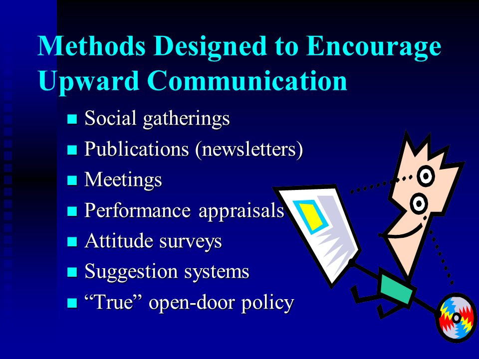 Methods Designed to Encourage Upward Communication Social gatherings Social gatherings Publications (newsletters) Publications (newsletters) Meetings