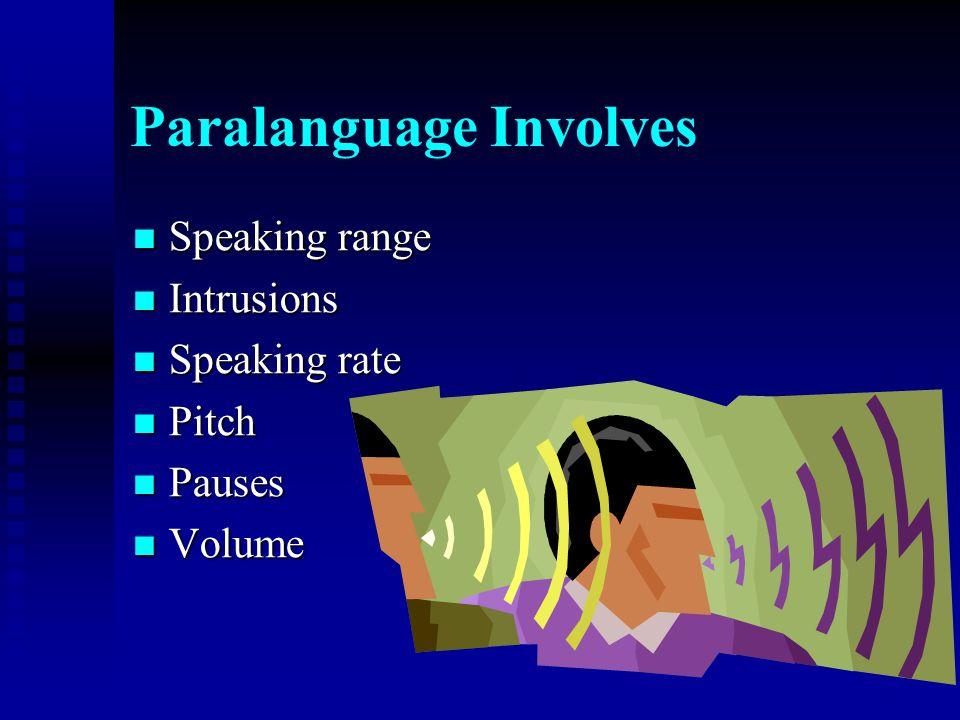 Paralanguage Involves Speaking range Speaking range Intrusions Intrusions Speaking rate Speaking rate Pitch Pitch Pauses Pauses Volume Volume