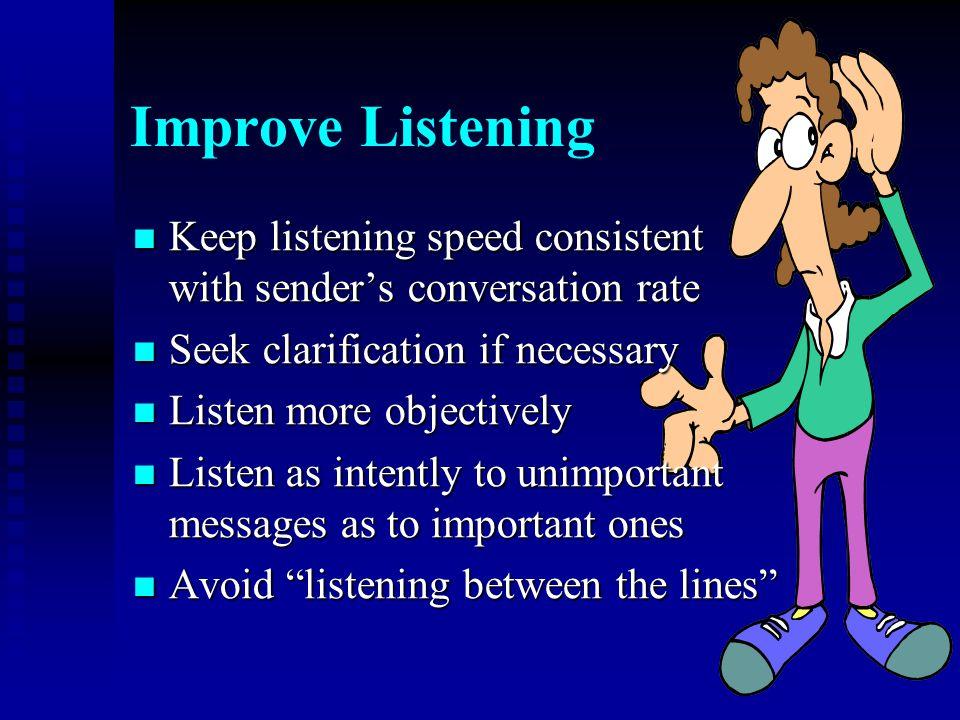 Improve Listening Keep listening speed consistent with sender's conversation rate Keep listening speed consistent with sender's conversation rate Seek