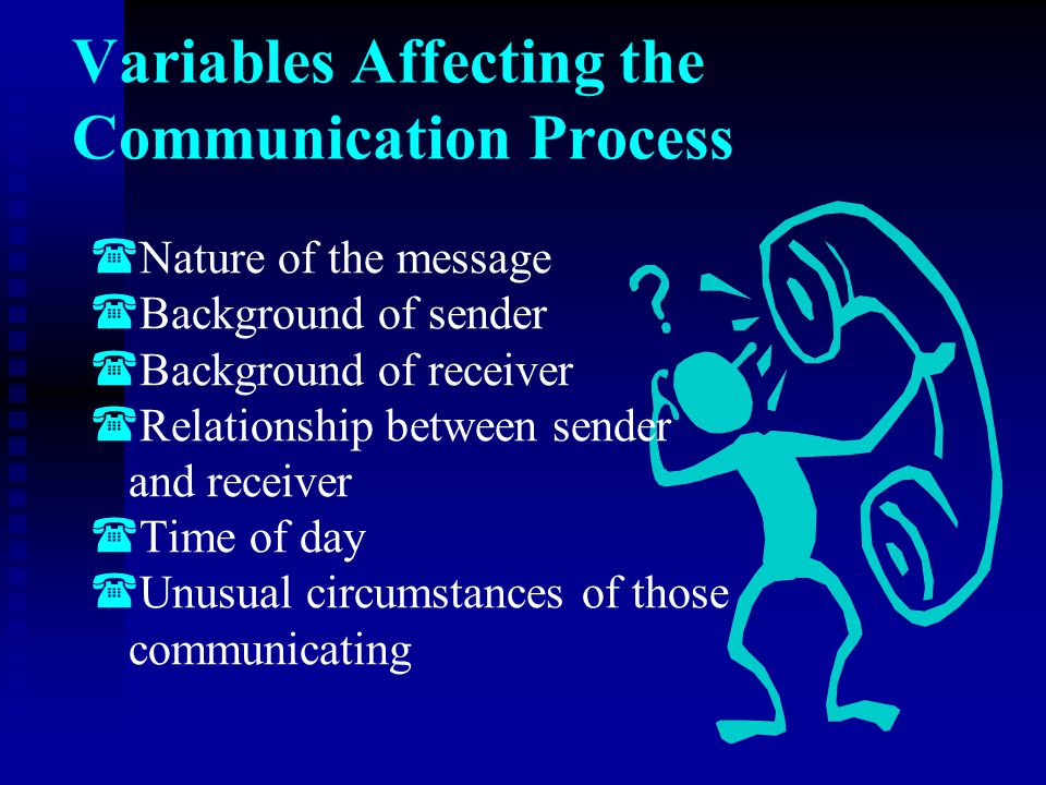 Variables Affecting the Communication Process   Nature of the message   Background of sender   Background of receiver   Relationship between s
