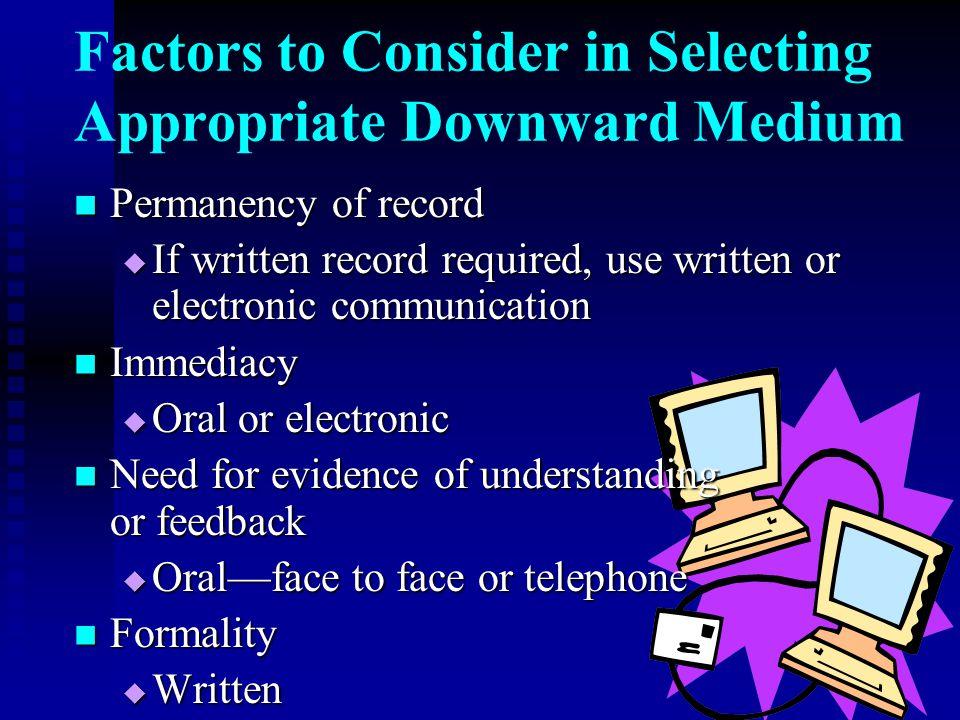 Factors to Consider in Selecting Appropriate Downward Medium Permanency of record Permanency of record  If written record required, use written or el