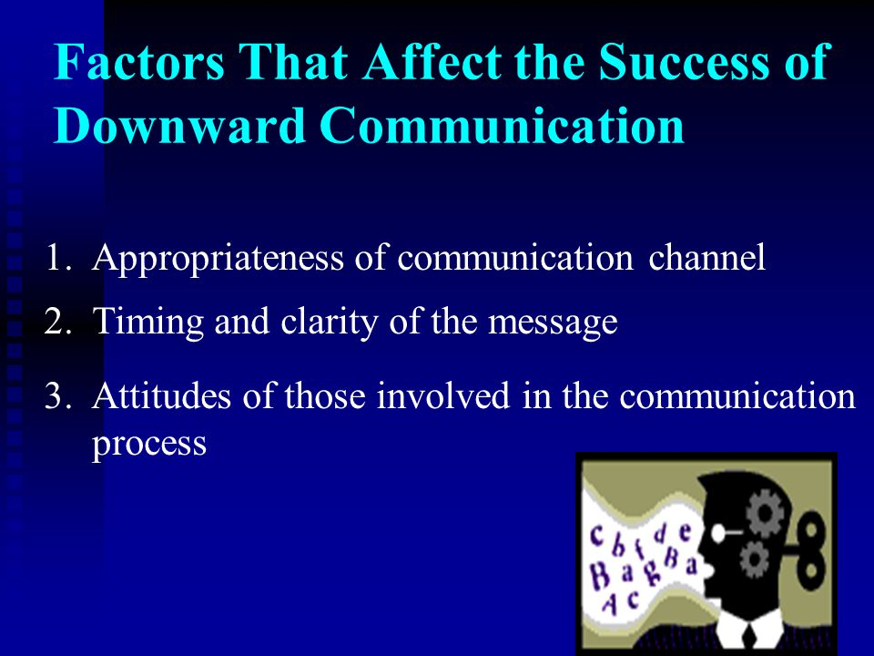 Factors That Affect the Success of Downward Communication 1. Appropriateness of communication channel 2. Timing and clarity of the message 3. Attitude