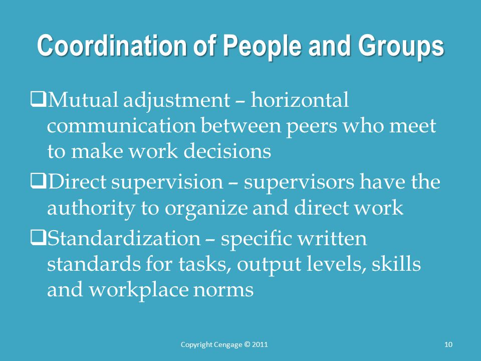 Coordination of People and Groups  Mutual adjustment – horizontal communication between peers who meet to make work decisions  Direct supervision – supervisors have the authority to organize and direct work  Standardization – specific written standards for tasks, output levels, skills and workplace norms Copyright Cengage © 201110